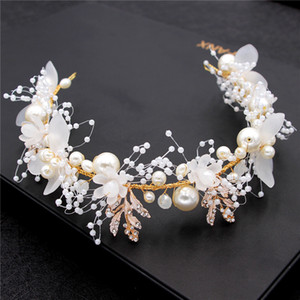 Gold Pearl Rhinestone Hair Jewelry For Women Handmade Tiara Bridal Hair Bands Wedding Hair Accessories Gift Headpieces