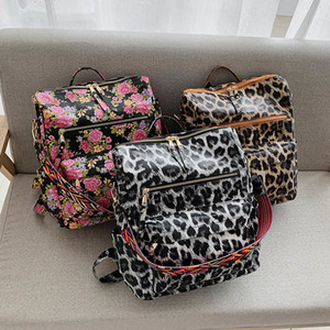 PU Guitar Strap Backpack Leopard Faux Leather Shoulder Backpacks Cow Print Girl School Bag DOM1494