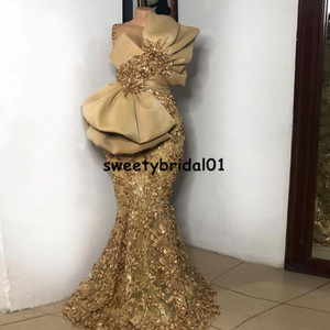 Formal robe de soirée de mariage Gold Mermaid Evening Dresses Long Appliqued Beaded African Prom Dress Arabic vestidos formales