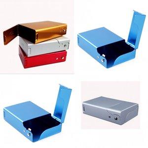 Rectángulo negro Metal Paquete de cigarrillos Aluminio Aleación Lateral Caja de Apertura Hombres Mujeres Regalo Moda Multicolor Nuevo 8 4by J2