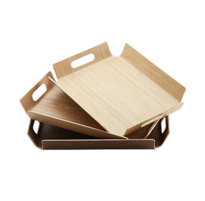 New Luxury Desk Table Bamboo In Bed Bread Wooden Tray Wood Fruit Breakfast Food Cake Coffee Tea Serving Tray With Handles 40*28*5cm