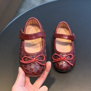 Leather Autumn New Shoes Girls Childrens Flats with Bow-knot Pu Leather Kids Dress Shoes for Wedding Party Hot