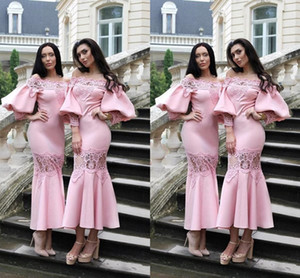 2021 Country Bridesmaid Dresses Off Shoulder Ankle Length Wedding Guest Dresses With Long Sleeve Lace Elastic Satin Maid Of Honor Gowns