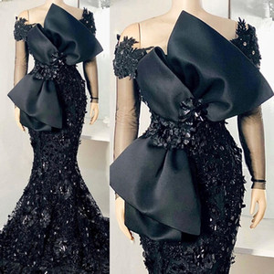 Elegant African Black Mermaid Evening Dresses Full Sleeves Lace Appliqued Beaded Arabic Aso Prom Gowns with Bow Robe De Soiree