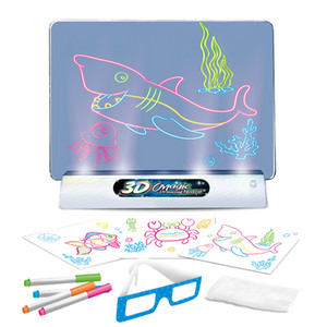 New 3D fluorescent drawing board magic luminous stereo writing board graffiti board children's Holiday gift DHL