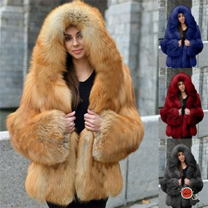 Solid Color Womens Faux Fur Coats Long Sleeve Patchwork Hooded Woman Outerwear Autumn Winter Fashion Casual Plus Size Women Clothes
