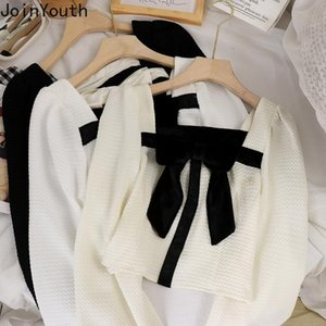 Women's Blouses & Shirts Joinyouth Square Collar Contrast Color Lace Up Bow Blouse Women 2021 Autumn Cropped Puff Sleeve Shirt Temperament A