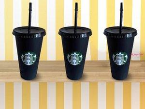 50 peças 24 oz 710ml suco de bebidas e canudo copo de café mágico Starbucks copo de plástico, você pode personalizar o logotipo
