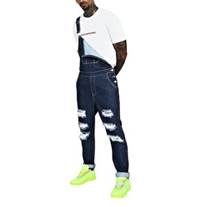Casual Polyester Men Pants Mens Hole Pocket Jumpsuit Streetwear Overall Suspender Male Jeans
