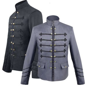 Gothic Style Victorian Steampunk Military Coat Men's Hook Clasp Jacket Blazer Suit Band Collar Embroidery For Men