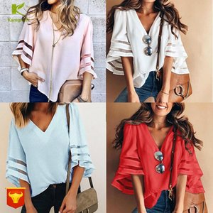 Women's T-Shirt 2021 Fresh Sweet Loose V Collar Yarn Splice Horn Sleeve Shirt Plus Size Women Tshirt Top Long Korean Clothes QP001