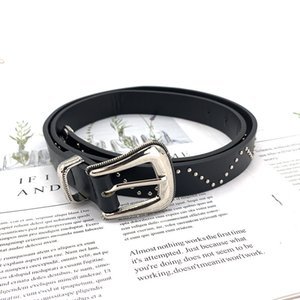 Thin Belt Women's Black Fashion Diamond Rivet Decoration Trend Versatile Personality with Jeans Belt