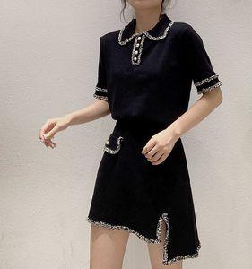 Trend Summer Women Patchwork 2pcs Set Irregular Punto Mini falda Turn-Down Cuello Botón Camiseta de manga corta