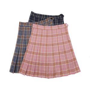 Plus Kawaii für koreanische Schulmädchen Uniform Rock Plaid Rock Für Frauen Studenten Hohe Taille Rock Plissee Röcke