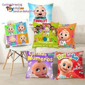 Novel cocomelon cartoon throw pillow case linen cushion covers kids baby room bedding ornaments car sofa pillowcase 45cm comelon family friends printing