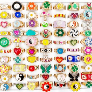 20Pcs Lot Dripping Oil Glaze Colorful Ring for Women Girls Trendy Sweet Flower Butterfly Smile Yin Yang Finger Rings Band Party Jewelry