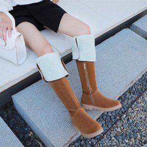 PXELENA Faux Suede 2020 Winter Women Thigh High Snow Boots Zip Low Heel Comfort Casual Long Over The Knee Boots Female Shoes 43 95KL#