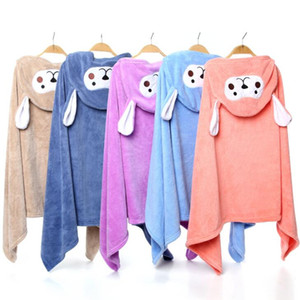 Детские полотенце накидки коралловый бархатный мультфильм халат детский ванна с капюшоном полотенце плюс размер ребенка пончо держать мать младенцев полотенца YL395