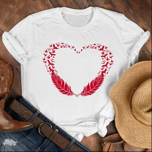Women Lady Cartoon Love Bird Cute Sweet Summer Fall Shirt Clothes Tshirt Tee Womens Top Female Print T Graphic T shirt