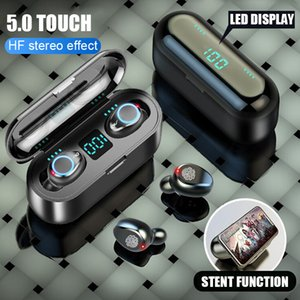 Kablosuz Kulaklık Bluetooth F9 TWS V5.0 Kulaklık HiFi Stereo Kulakiçi Dijital LED Ekran Dokunmatik Kontrol 2000 mAh Güç Bankası Kulaklık Mic ile