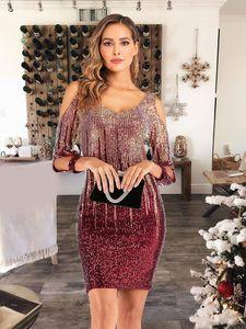 Повседневные платья плюс размер сексуальный контрастный цвет блестящий блесток платье женщин холодное плечо роскошный год рождественская формальная одежда