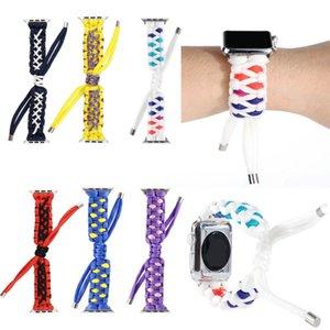Mens Women Outdoor Sport Nylon Braid Bands Smart Watch Bracelet Strap for Apple Watch iwatch 6 5 4 3 2 38 40 42 44mm Wristband Belt GSZ504