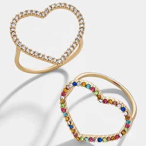 New Arrival Couple Rings Big Heart Geometry Gold Rings Romantic Colorful Rhinestone Finger Rings for Women Party Wedding Jewelry