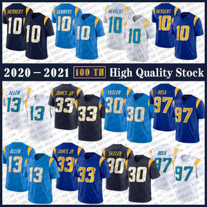 10 Джастин Герберт 2020 Новый футбол Джерси 33 Дервин Джеймс JR 30 Austin Ekeler 13 Keenan Allen 97 Jersey Bosa Высококачественные трикотажные изделия