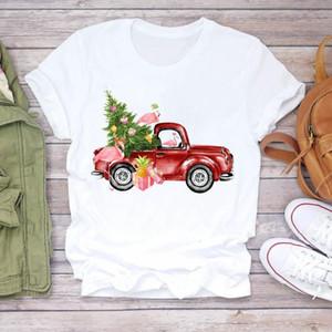 Women Cartoon Truck Animal Tree Vintage 90s Merry Christmas Print Tshirts Clothes Graphic Female Top T Shirt Ladies Tee T-Shirt