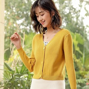 2021 Vintage V-neck Knitted Cardigan Buttons Fashion New Style Autumn Winter Outdoor Long Sleeve Women Sweater 7w1l