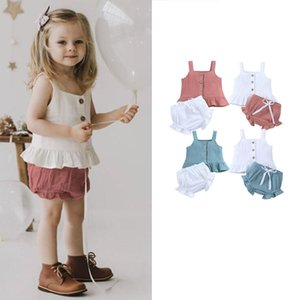KT INS New Baby Kids Girls Suits Organic Linen Cotton Sleeveless Dresses with Straps Shorts 2Pieces Summer Children Clothing Sets Outfits
