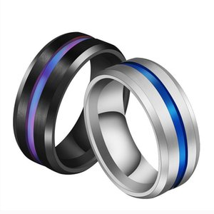 2021 Blue Groove ribbon Stainless steel ring wedding ring engagement rings for women mens rings jewelry Gift