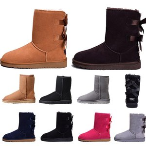 2021 Top quality Australia WGG classic tall winter boots real leather Bailey booties girl botte Bowknot women's bow snow Boot