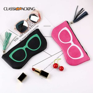 Creative personality litchi pattern tassel sunglasses high end fashion large frame zipper glasses bag 2019 new products