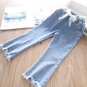 Girls Jeans Soft Denim Kids Jeans Lace Belts Girls Trousers Spring Autumn Fashion Skinny Jeans Baby Pants Child Clothes 2-6Y B3973