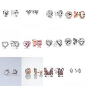 100% 925 Sterling Silver 1: 1 Charme Bow Coração-em forma de Coração Tarragem de Ouro Zircão Redonda Feminino Elegante Brincos 388 G2