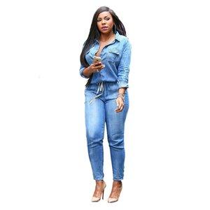 2020 Nuevas para mujer Vintage Plus Tamaño Jeans Jumpsuit Romper Botón de manga larga Monos para mujeres Jump Traje Combinaison S-3XL