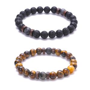 Accessories Hot Suit Bracelet Volcanic Stone Tiger Eye Stone Wood Wafer Black Flash Buddha Beads Bracelet