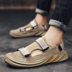 Sandali da uomo traspirante estate scarpe casual retrò tutto tondo Slip on Fashion Recreational Than's Canvas Shoes Sneakers Uomo 210301