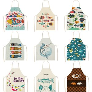 Green Leaf pattern Cleaning Art Aprons Home Cooking Kitchen Cook Wear Cotton Linen Adult Bibs apron woman
