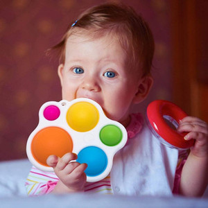 2021 Simple Dimple Fidget Popper Toys, Fidget Push Pop Silicone Sensory Toys, Infant Early Education Attention Learning Toys