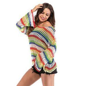 Women Blouse Beachwear Sheer Fishnet Mesh Bikini Swimwear Assorted color Loose Lady Cover Up Hollow out Shirt Ladies Tops