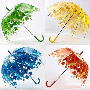 Simanfei 4 Colors Maple Leaf Leaves Cage Umbrella Transparent Rainny Sunny Umbrella Parasol Cute Umbrella Women Cute Clear Apollo DWA8795