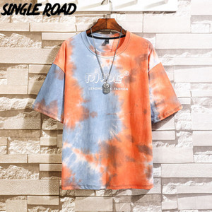 SingleRoad Mens T-Shirt Men 2021 Summer Fashion Oversized Tie Dye Hip Hop Japanese Streetwear Harajuku Tshirt T Shirt Men Cotton 210225