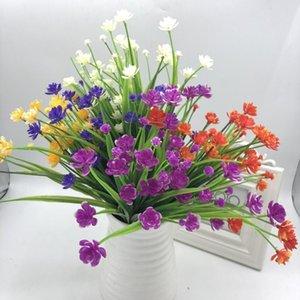 7 Fork Simulation Plastic Camellia Gypsophila Blanco Oficina Dormitorio Sala de estar Casa Otoño Decoración Rojo Púrpura Azul