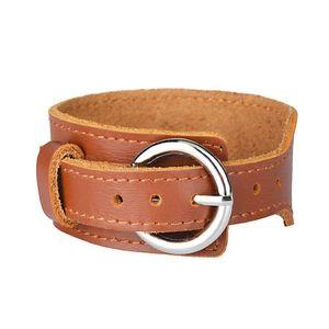 Fashion Shou Biao Kou Wide Leather Cattle Leather Bracelet Men Ornament Fash jllmqh
