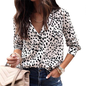 Women Leopard Blouse Plus Size Holiday Long Sleeve Tops New Spring Deep V-Neck Shirts Sexy Leopard Print Beach Ladies Blouse
