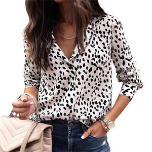 Mulheres Leopard Blouse Plus Size Holiday Manga Longa Tops Nova Primavera Profunda V-Pescoço Camisas Sexy Leopard Imprimir Praia Beach Senhoras Blusa