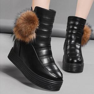 Rimocy Chunky Tacones escondidos Zapatos de plataforma Mujeres Negro Impermeable Cuero Grueso Piel Tobillo Botas Mujer No Slip Zapatos De Mujer D8HV #