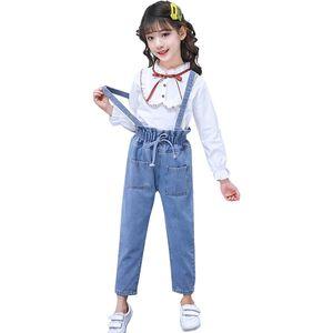 Girls jeans Overalls Autumn teenage girls children short trousers suspenders denim pants baby overalls 210528
